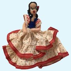 Vintage Spun Cotton Face Lady Doll Dancing Dress