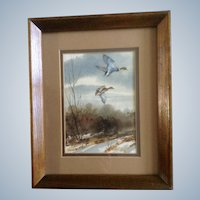 Georgia Edmondson, Watercolor Painting Works on Paper Mallard Ducks in Flight Colorado Artist