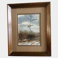 Georgia Edmondson, Watercolor Painting Works on Paper Mallard Ducks in Flight Colorado Artist