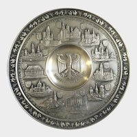 Vintage Pewter Plate Germany Crest Eagle with German City Reliefs