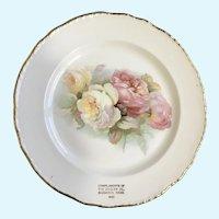 Rose Plate Transferware 1930 Ziegler Company Souvenir