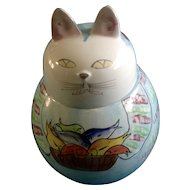 Vintage Italy Cat Cookie Treat Jar Hand Painted Signed by Artist Italian Pottery