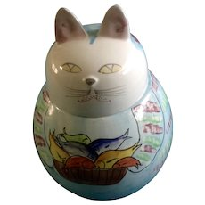 Kitty Cat Cookie Treat Jar Vintage Italy Hand Painted Signed by Artist Italian Pottery