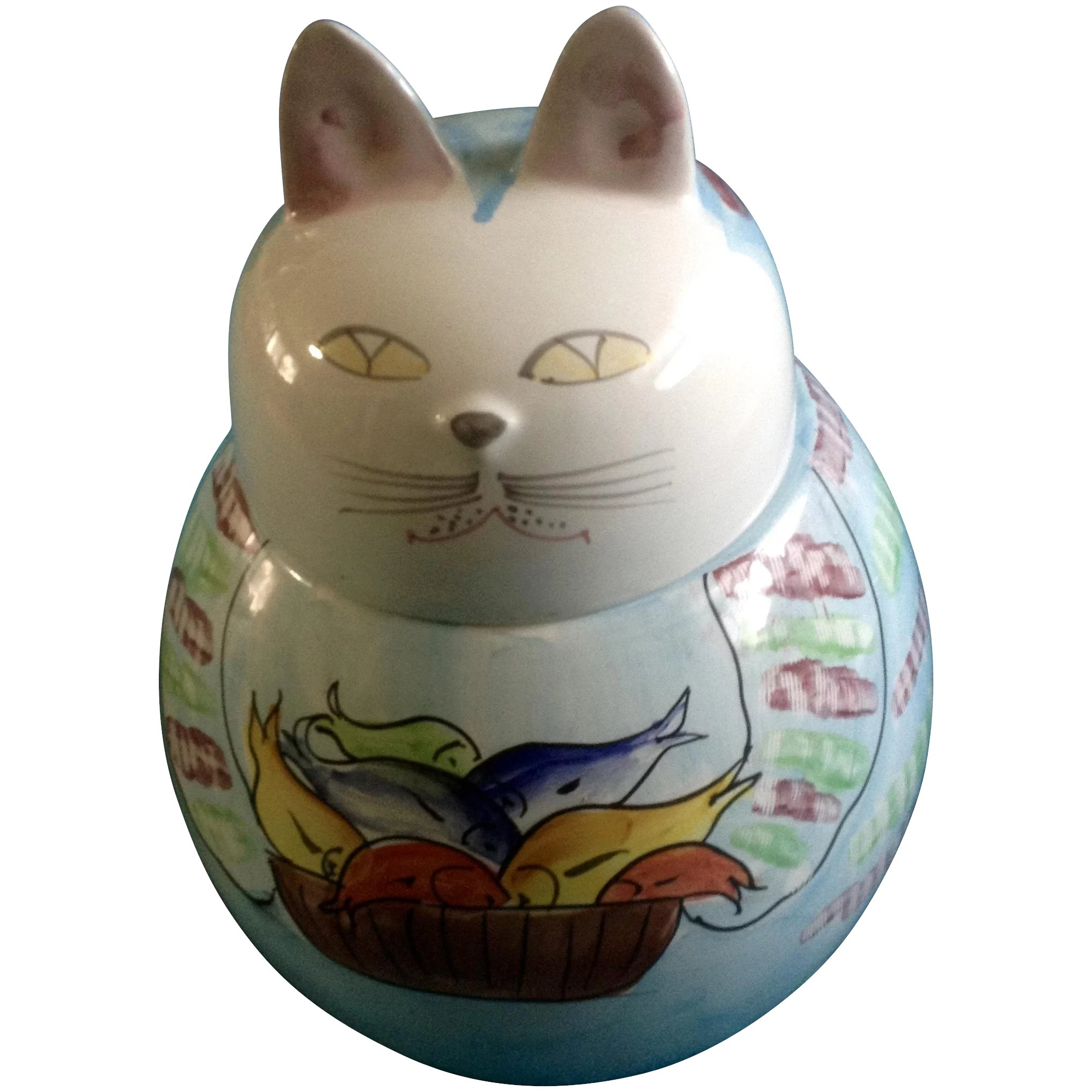 Cat Cookie Treat Jar Italy Signed By Artist Italian Pottery Gumgumfuninthesun Ruby Lane