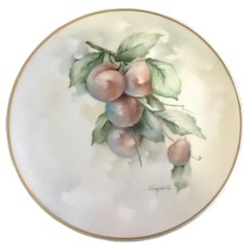 Vintage Hand Painted Plumb Fruit Plate Signed by Artist