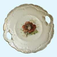 Flower Face Vintage Transferware Serving Plate with Handles