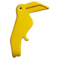 Bird Pin Yellow Toucan Acrylic Plastic