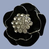 Black and Silver-Tone Flower Brooch Pin with Rhinestones