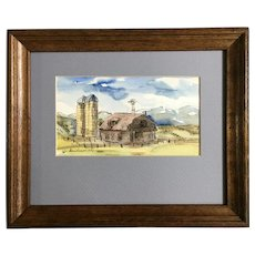 Barn with Silos Farm landscape Watercolor Painting Signed by Artist
