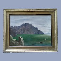 Coastal Landscape Scene Oil Painting 19th Century