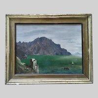 Coastal Landscape Scene Oil Painting 19th Century