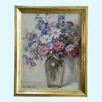 Clara Frances Howard (1866-1938) Flower Still Life Oil Painting Signed By Artist