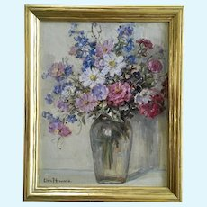 Clara Frances Howard (1866-1938) Flower Still Life Oil Painting