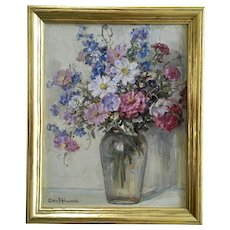 Clara Frances Howard (1866-1938) Flower Still Life Oil Painting Signed By Artist
