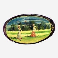 Russian Black Lacquer Hair Barrette European Victorian Style Figural Badminton Hand Painted 1980s