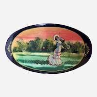 Russian Black Lacquer Hair Barrette  European Victorian Style Figural Badminton Hand Painted