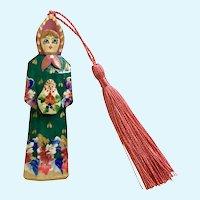 Wooden Russian Folk Art Doll Ornament