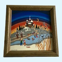Barbara Furstenhofer Winter Tile Four Seasons Painted Signed Germany Folk Art