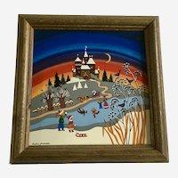 Barbara Furstenhofer Winter Tile Four Seasons Painted Signed Germany Folk Art
