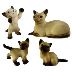 Vintage Hagen Renaker Siamese Cats California Pottery Figurines