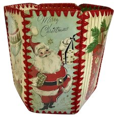 Vintage Christmas Greeting Card Bowl Santa Claus