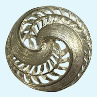 Spiral Silver-Tone Leaves and Feathers Brooch Pin
