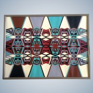 Rochelle Newman, Geometric Abstract African Style Acrylic Painting Works on Paper