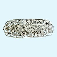 Silver-Tone Stamped Filigree Brooch Pin