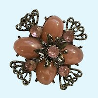 Pink rhinestones and Silver-Tone Filigree Floral Brooch Pin