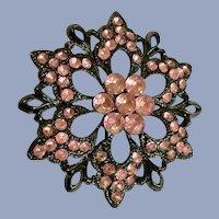 Pink Flower Faux Rhinestone Brooch Pin