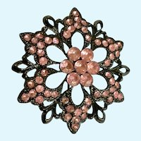 Pink Flower Faux Rhinestone Brooch Pin
