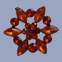 Red Plastic Jewels Flower Brooch Pin