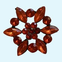 Red Plastic Jewels Flower Brooch Pin