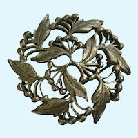 Pewter Flowering Leaf Brooch Pin