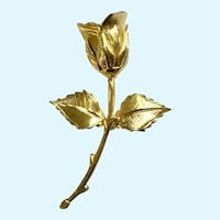 Gold-Tone Single Rose Brooch Pin