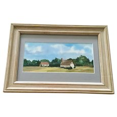 Rural Homes Landscape Watercolor Painting