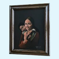 V J Mincieli, South American Mother and Child Portrait Oil Painting