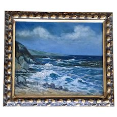 Pfleger, Coastal Seascape 19th Century Oil Painting