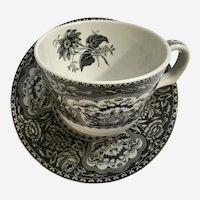 Spode Botanical Cup and Saucer Blue Moon Collection