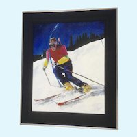 Terri McDonald, Snow Skiing Downhill Acrylic Painting Signed by Artist