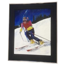 Terri McDonald, Snow Skiing Downhill Skier Acrylic Painting