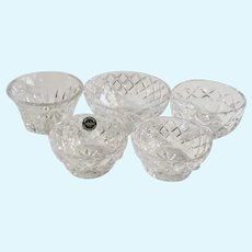Vintage Crystal Nut Bowls with 3 Patterns 5pc Group