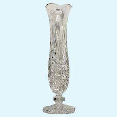 Tall Trumpet Glass Vase With Diamond Fan Pattern