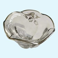 Art Nouveau Tulip Bowl Sterling Silver Overlay Glass Dish
