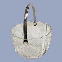 Fostoria Ice Bucket Meadow Rose Baroque Glass with Handle