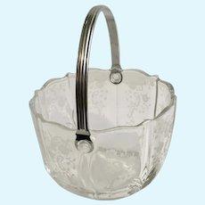 Fostoria Ice Bucket Meadow Rose Baroque Glass with Handle