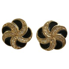 Swarovski Crystal Earrings Black and Gold-Tone Spirals Swan Marked