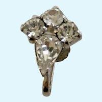 Vintage White Rhinestone Clusters Screw Back Earrings