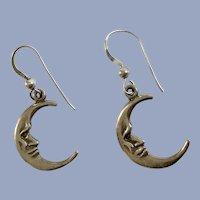 Man in Crescent Moon Earrings Silver-Tone Fishhooks for Pierced Ears