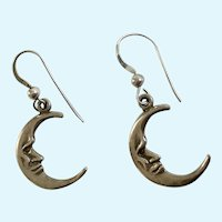 Man in Crescent Moon Earrings Silver-Tone Fishhooks for Pierced Ears